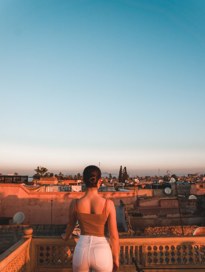 Enjoying the sunrise in Marrakech, Morocco.
