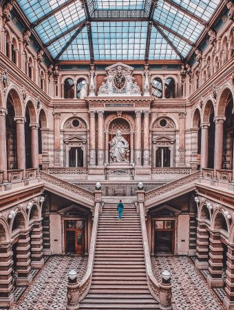 Girl standing in the Palace of Justice in Vienna.