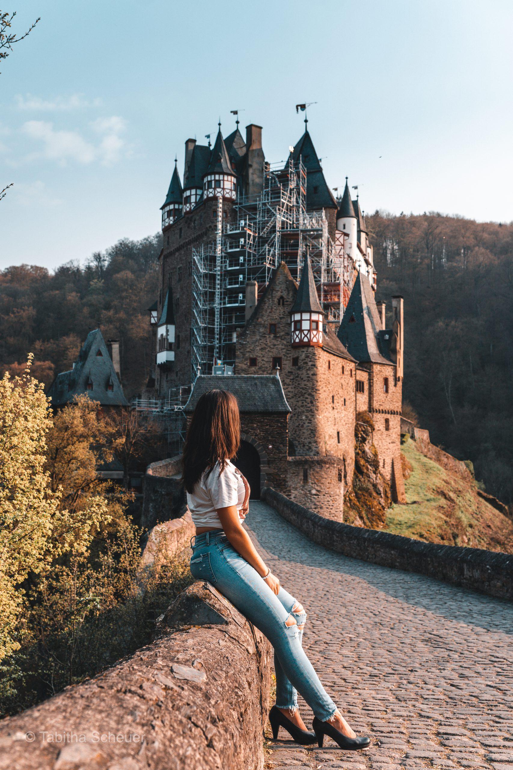 Burg Eltz |Girl sitting in front of Eltz Castle |Germany Tourism