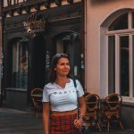A girl exploring the city of Linz am Rhein in western Germany