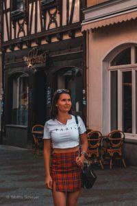 A girl exploring the city of Linz am Rhein in western Germany