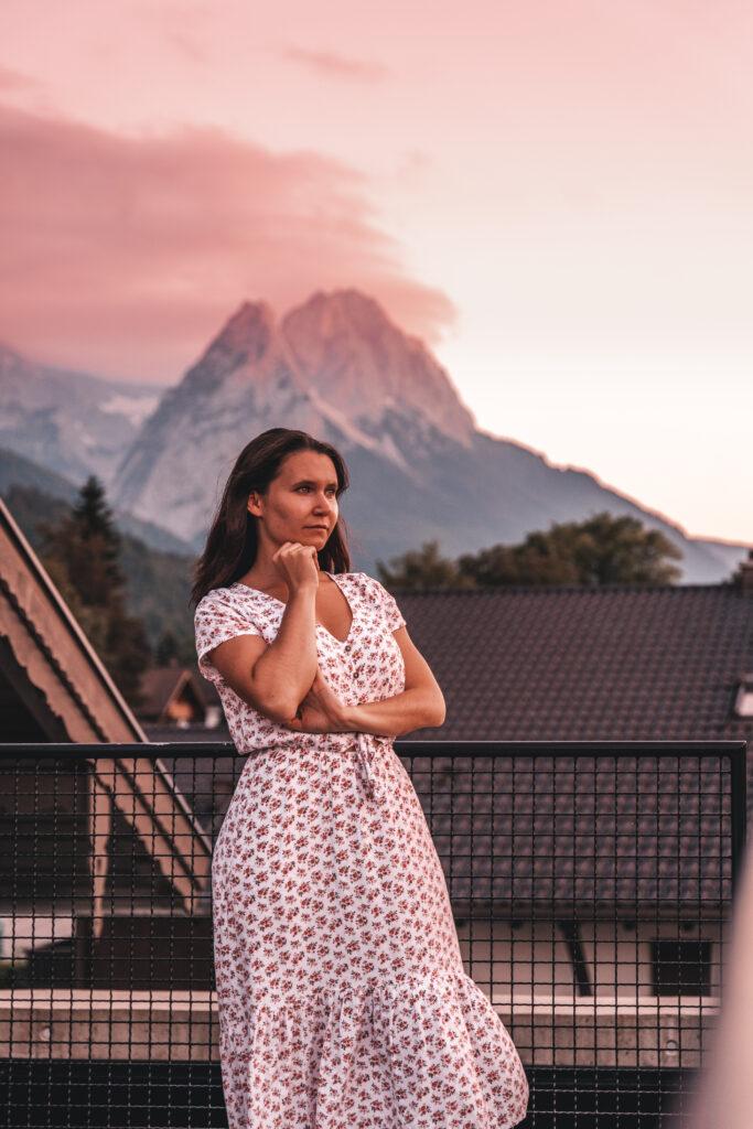 Sunset at Quartier Bio Lodges in Garmisch-Partenkirchen